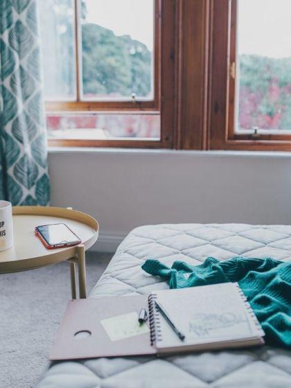 Photo room with window and writers' stuff